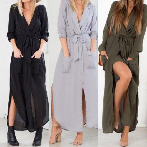Women Sexy V Neck Chiffon Dress Long Sleeve Beach Party Maxi Shirt Dress